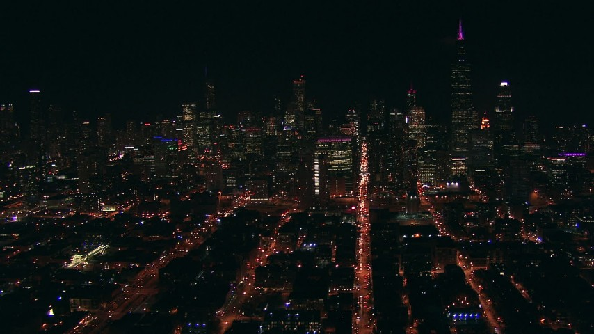 HD stock footage aerial video approach Downtown Chicago, Illinois skyscrapers at night Aerial Stock Footage | ED0001_000008