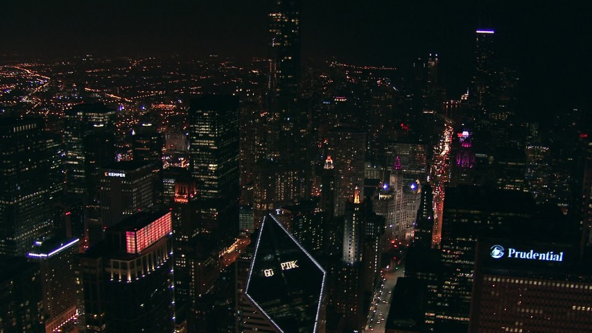 HD stock footage aerial video flyby skyscrapers at night in Downtown Chicago, Illinois Aerial Stock Footage | ED0001_000012