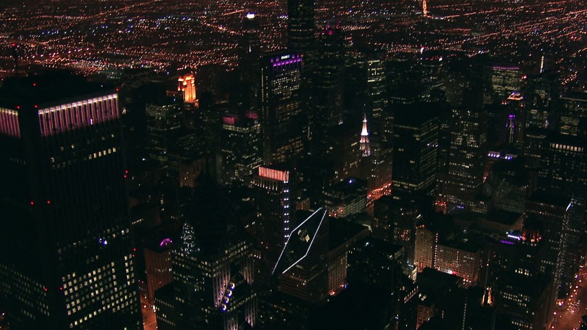 HD stock footage aerial video flyby and tilt to skyscrapers at night in Downtown Chicago, Illinois Aerial Stock Footage | ED0001_000014