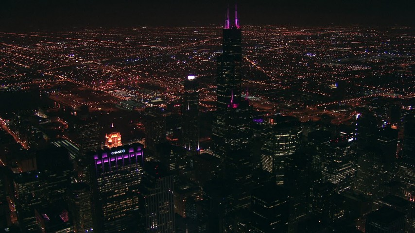 HD stock footage aerial video of the iconic Willis Tower skyscraper at night in Downtown Chicago, Illinois Aerial Stock Footage | ED0001_000017
