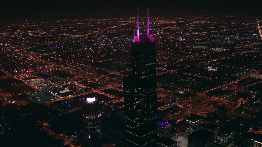 HD stock footage aerial video approach the top of iconic Willis Tower skyscraper at night, Downtown Chicago, Illinois Aerial Stock Footage | ED0001_000019
