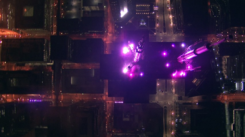 HD stock footage aerial video of a bird's eye view of Willis Tower skyscraper at night, Downtown Chicago, Illinois Aerial Stock Footage | ED0001_000021