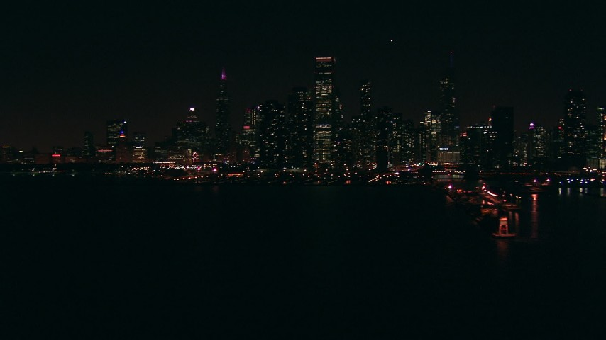 HD stock footage aerial video of Downtown Chicago skyline at night seen from Lake Michigan, Illinois Aerial Stock Footage | ED0001_000030