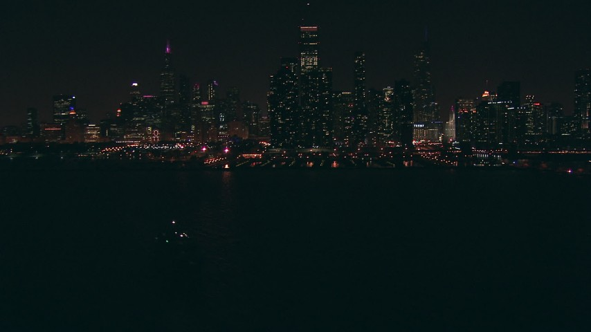 HD stock footage aerial video of city skyline seen from Lake Michigan at night, Downtown Chicago, Illinois Aerial Stock Footage | ED0001_000031