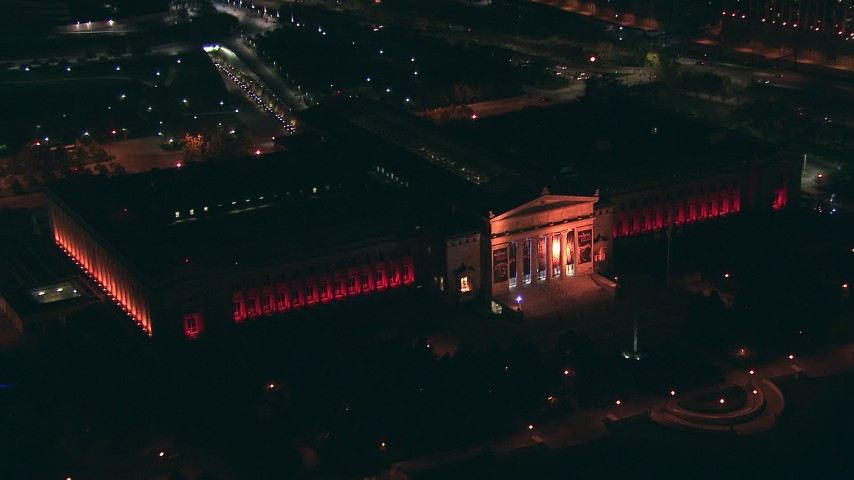 HD stock footage aerial video approach the Field Museum of Natural History at night, Downtown Chicago, Illinois Aerial Stock Footage | ED0001_000033