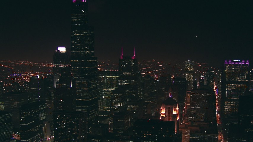 HD stock footage aerial video of Willis Tower skyscraper and the Chicago Board of Trade at night, Downtown Chicago, Illinois Aerial Stock Footage | ED0001_000036