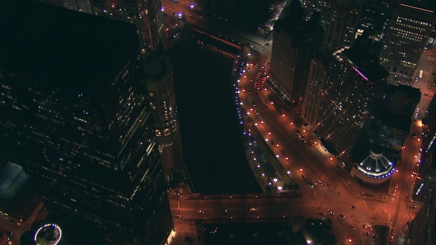 HD stock footage aerial video bird's eye of the Chicago River bridges and streets at night through Downtown Chicago, Illinois Aerial Stock Footage | ED0001_000039
