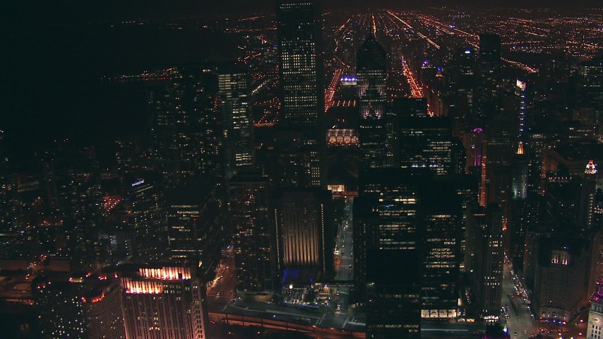 HD stock footage aerial video approach Aon Center skyscraper at night in Downtown Chicago, Illinois Aerial Stock Footage | ED0001_000044