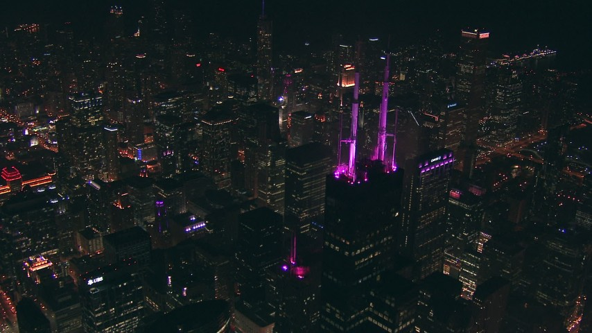 HD stock footage aerial video approach and fly over Willis Tower skyscraper at night, Downtown Chicago, Illinois Aerial Stock Footage | ED0001_000052