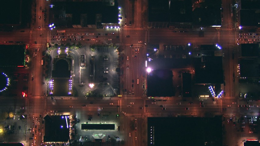 HD stock footage aerial video of a bird's eye view of city streets at night in Downtown Chicago, Illinois Aerial Stock Footage | ED0001_000056