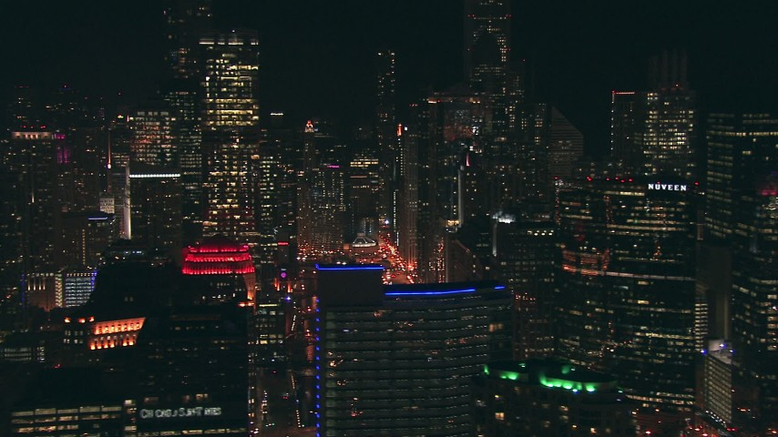 HD stock footage aerial video flyby skyscrapers and reveal the Chicago River at night in Downtown Chicago, Illinois Aerial Stock Footage | ED0001_000064
