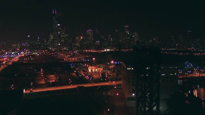 HD stock footage aerial video of the city skyline seen from south of the city at night, Downtown Chicago, Illinois Aerial Stock Footage | ED0001_000067