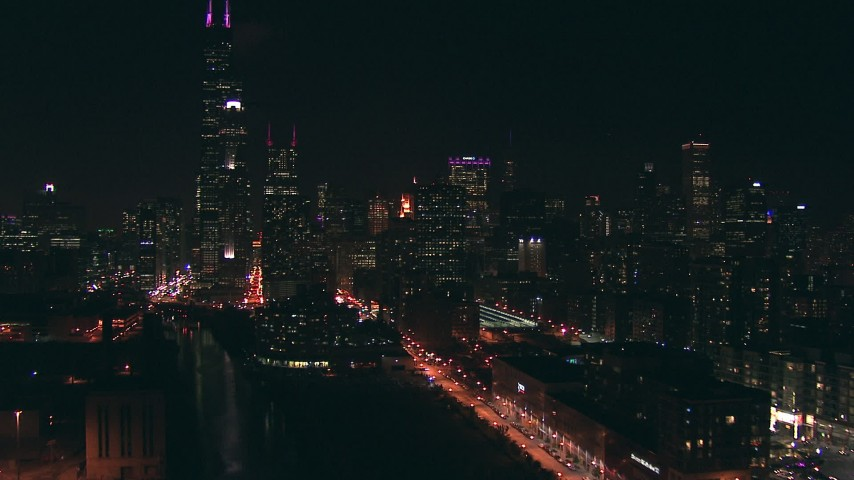 HD stock footage aerial video ascend and approach Willis Tower and skyscrapers from the south at night, Downtown Chicago, Illinois Aerial Stock Footage | ED0001_000069