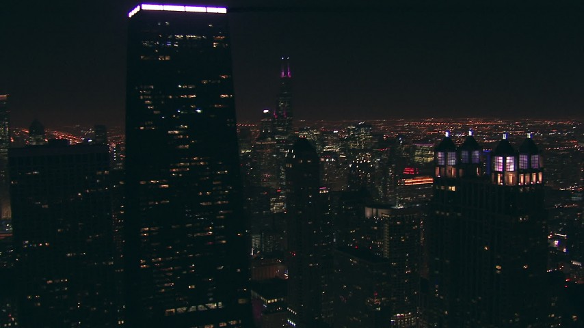 HD stock footage aerial video orbit 900 North Michigan and John Hancock Center skyscrapers at night, Downtown Chicago, Illinois Aerial Stock Footage | ED0001_000076