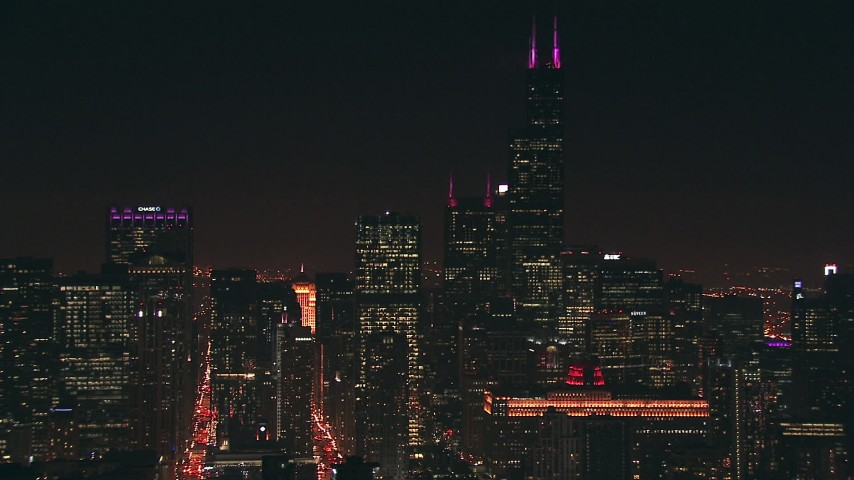 HD stock footage aerial video of iconic Willis Tower skyscraper and city high-rises at night, Downtown Chicago, Illinois Aerial Stock Footage | ED0001_000083
