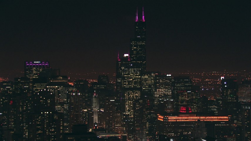 HD stock footage aerial video of Willis Tower and city skyscrapers at night, Downtown Chicago, Illinois Aerial Stock Footage   ED0001_000084