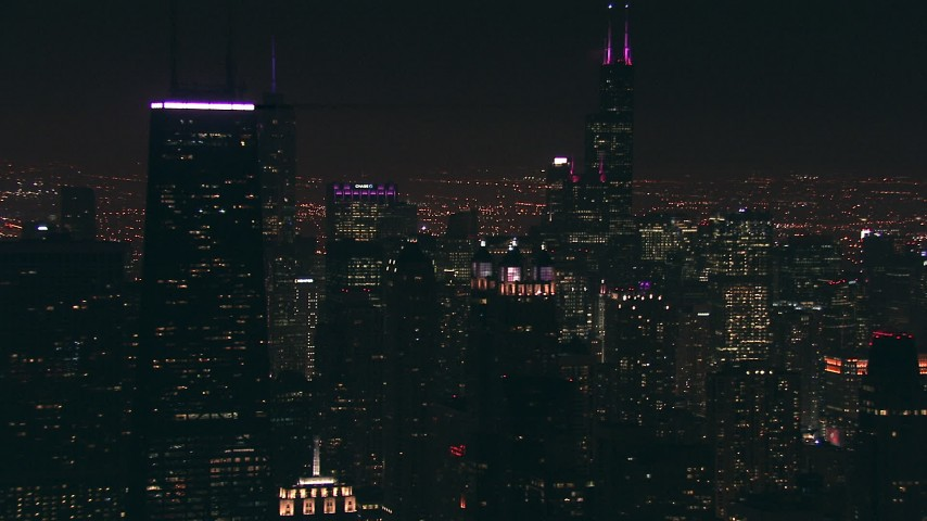 HD stock footage aerial video of Willis Tower skyscraper, and reveal John Hancock Center at night, Downtown Chicago, Illinois Aerial Stock Footage ED0001_000085