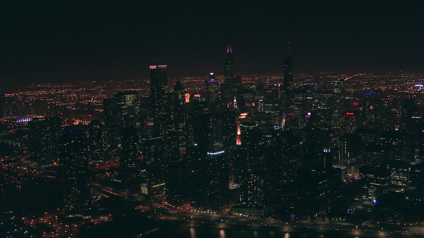 HD aerial video approach Downtown Chicago, Illinois skyscrapers at nighttime Aerial Stock Footage | ED0001_000087