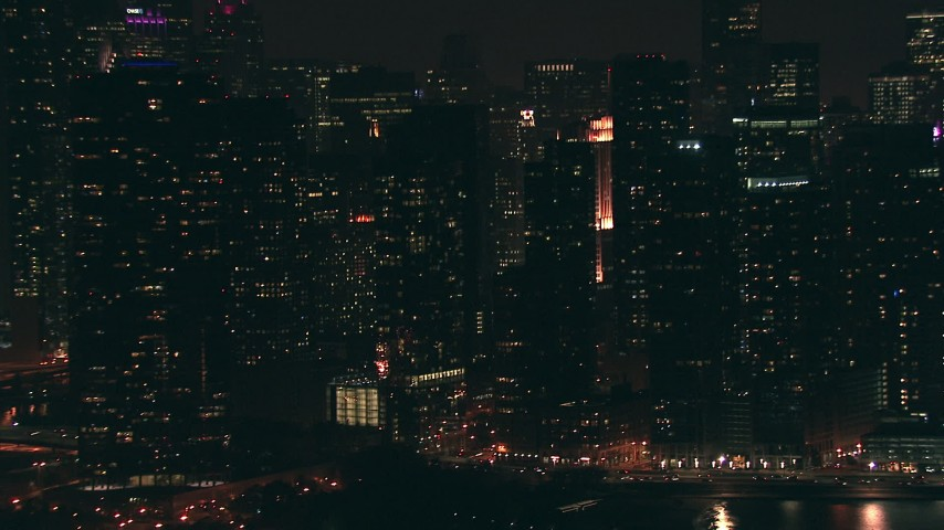 HD stock footage aerial video of city skyscrapers and high-rises at night, Downtown Chicago, Illinois Aerial Stock Footage | ED01_103