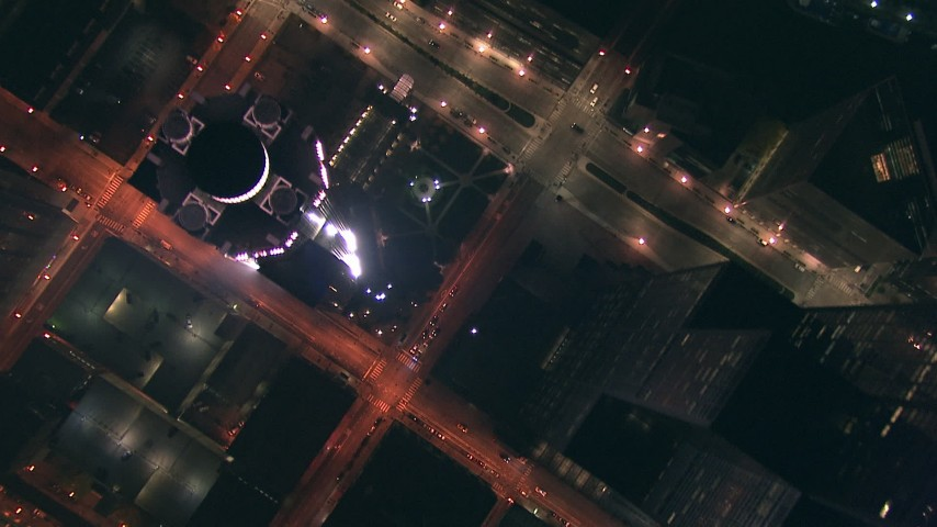 HD stock footage aerial video of bird's eye of wide streets through the city at night, Downtown Chicago, Illinois Aerial Stock Footage | ED01_113