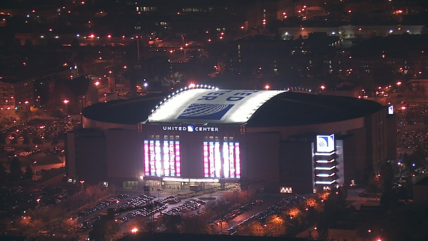 HD stock footage aerial video of United Center arena at night in West Side Chicago, Illinois Aerial Stock Footage ED01_115 | Axiom Images