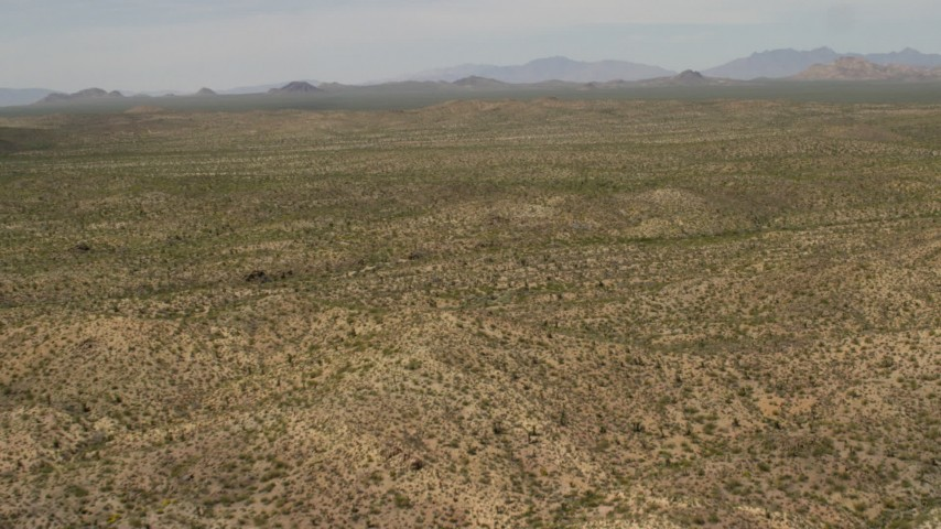 Wide open Mojave Desert landscape near Laughlin, Nevada Aerial Stock Footage | FG0001_000037