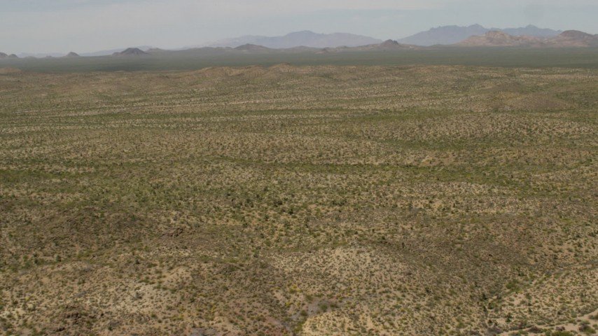 4K stock footage aerial video of wide Mojave Desert landscape in San Bernardino County, California Aerial Stock Footage | FG0001_000038