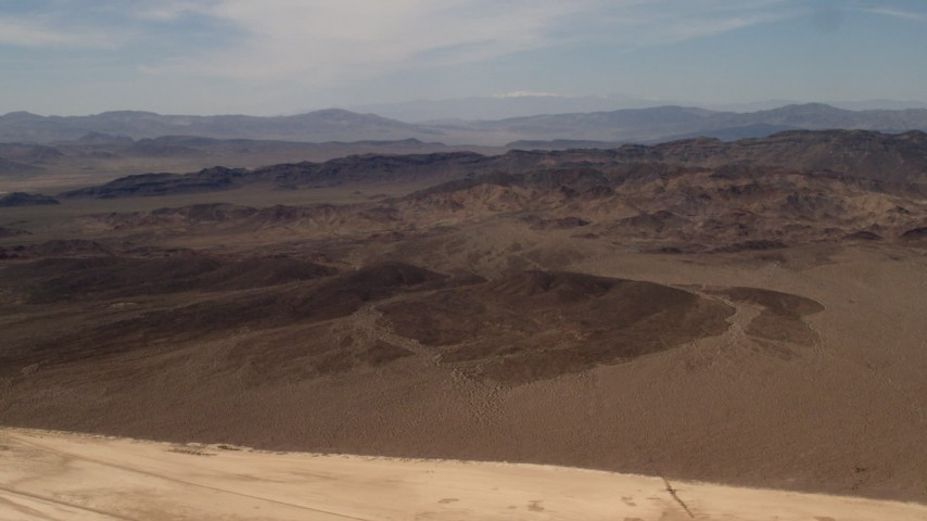 Rugged Mojave Desert mountains in San Bernardino County, California Aerial Stock Footage | FG0001_000065