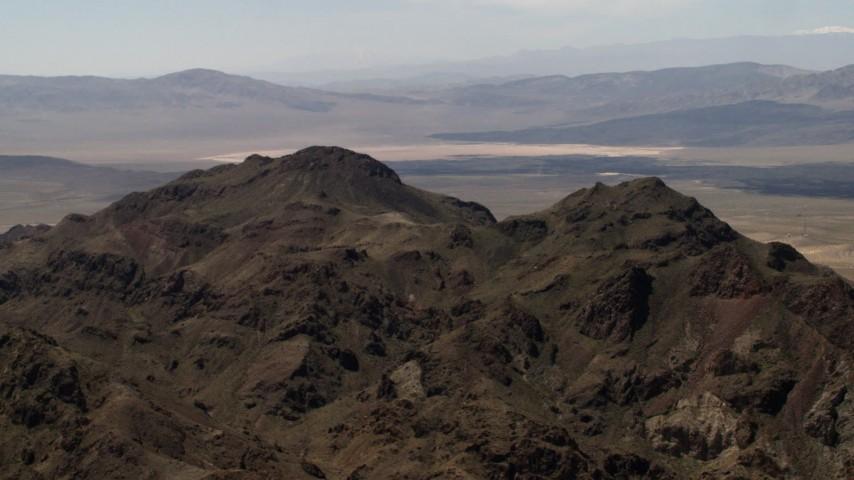 4K stock footage aerial video of a rugged Mojave Desert mountain in San Bernardino County, California Aerial Stock Footage | FG0001_000081