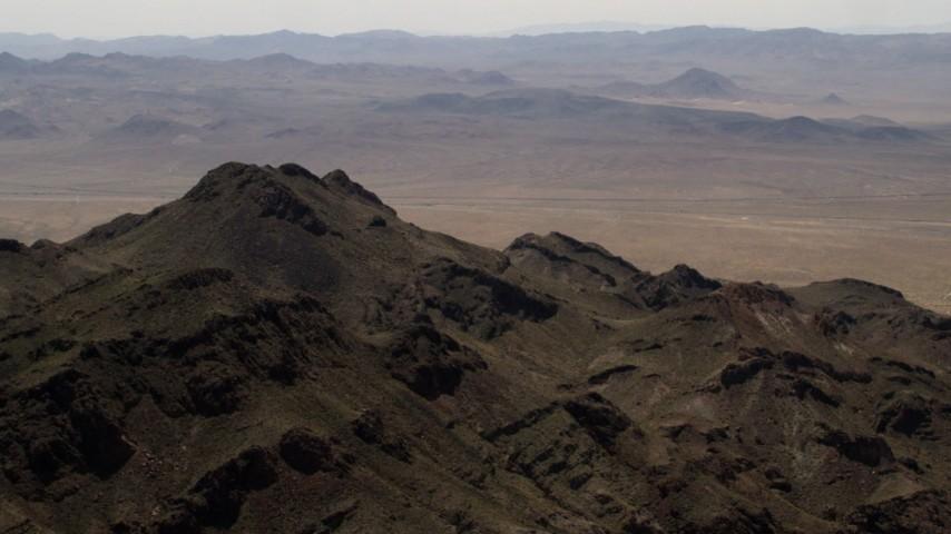 4K stock footage aerial video of a rugged Mojave Desert mountain in San Bernardino County, California Aerial Stock Footage | FG0001_000084