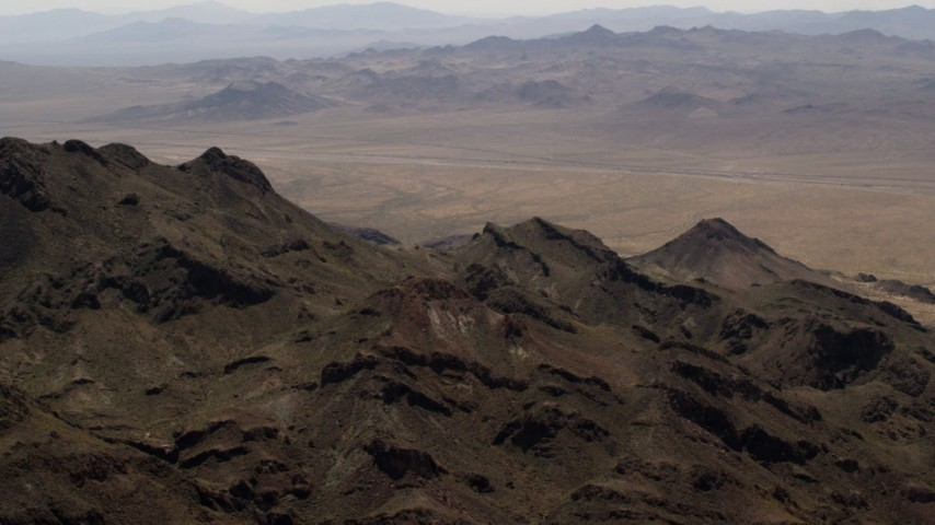 Summit of a Mojave Desert mountain in San Bernardino County, California Aerial Stock Footage | FG0001_000085