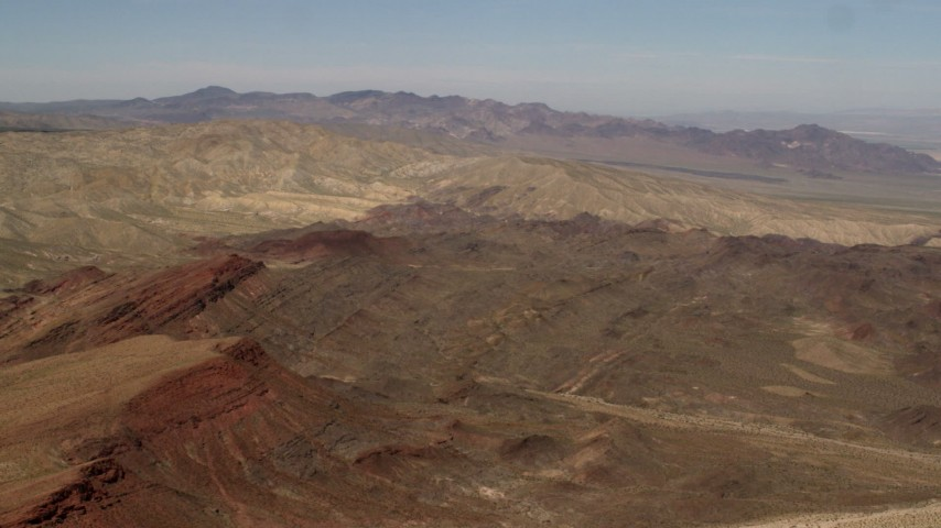 4K stock footage aerial video of Rodman Mountains and colorful striations in the Mojave Desert, San Bernardino County, California Aerial Stock Footage | FG0001_000098