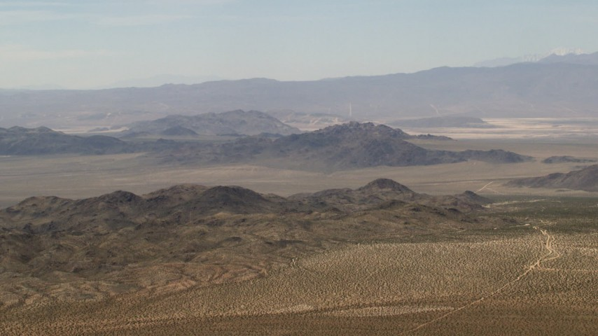 4K stock footage aerial video of the Iron Ridge mountains and small ranges in the Mojave Desert, San Bernardino County, California Aerial Stock Footage | FG0001_000108