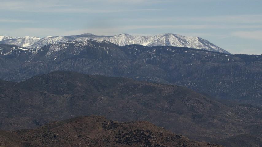 Snow on ridges of the San Bernardino Mountains in California Aerial Stock Footage   FG0001_000124