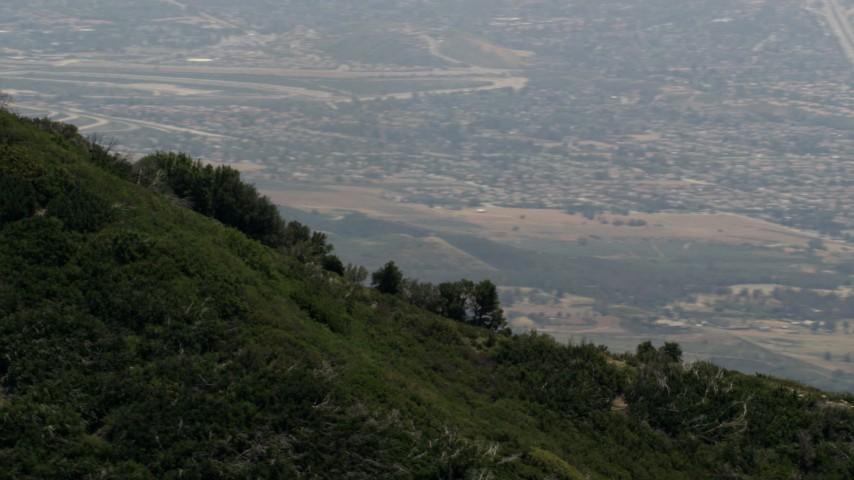 The ridge of a green mountain in the San Bernardino Mountains of California Aerial Stock Footage   FG0001_000136