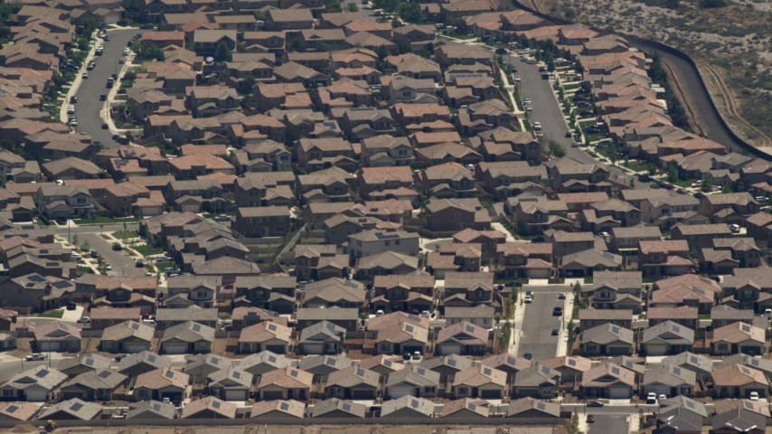 Tract homes in Rancho Cucamonga, California Aerial Stock Footage | FG0001_000137