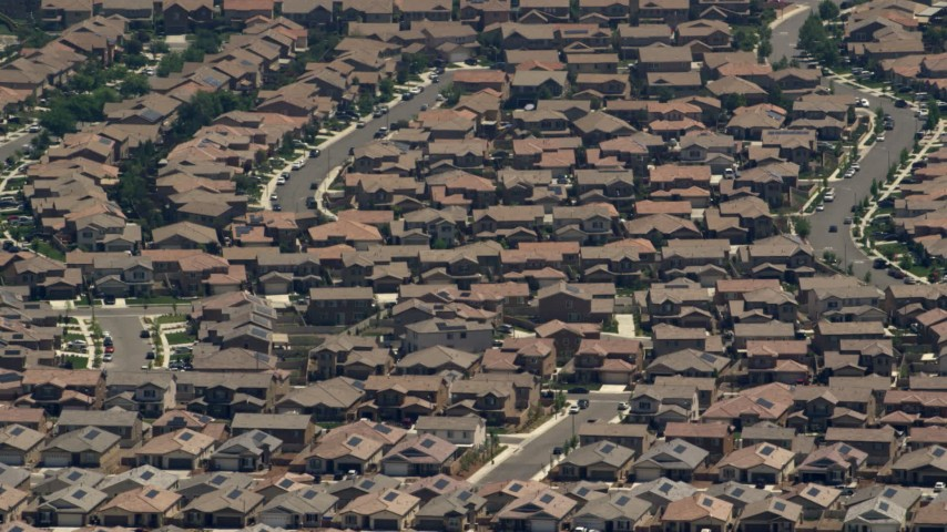 Suburban tract homes in Rancho Cucamonga, California Aerial Stock Footage | FG0001_000138