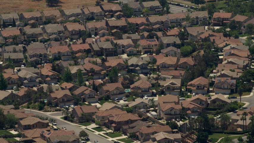 Tract homes in a suburban neighborhood, Rancho Cucamonga, California Aerial Stock Footage | FG0001_000140