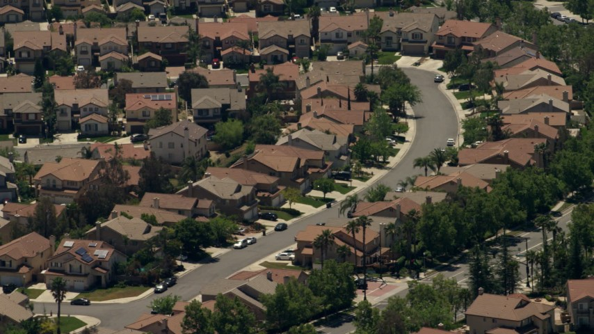 A suburban neighborhood with tract homes in Rancho Cucamonga, California Aerial Stock Footage | FG0001_000141