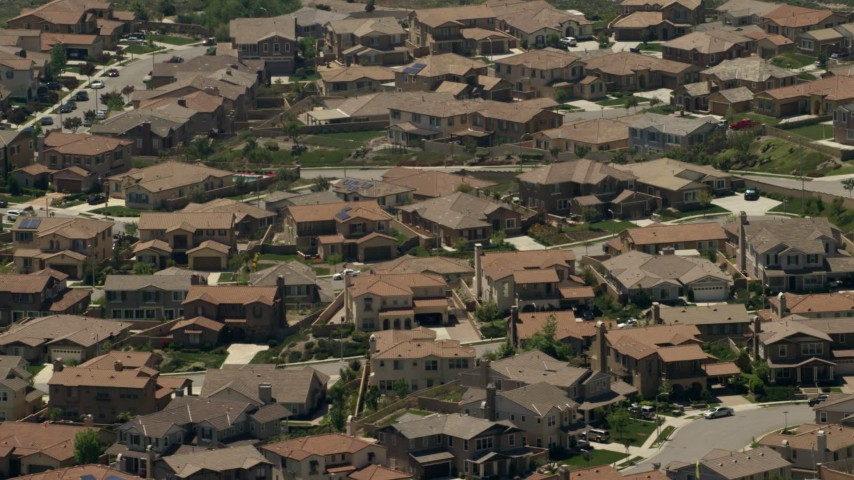 A suburban residential neighborhood in Rancho Cucamonga, California Aerial Stock Footage FG0001_000146