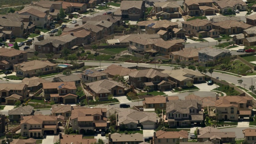 Large homes in a suburban residential neighborhood in Rancho Cucamonga, California Aerial Stock Footage | FG0001_000147