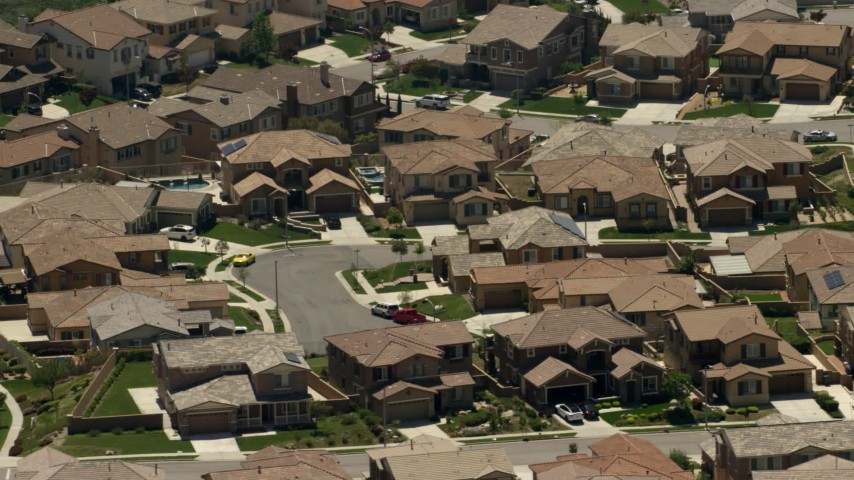 Spacious homes in a suburban neighborhood in Rancho Cucamonga, California Aerial Stock Footage | FG0001_000148
