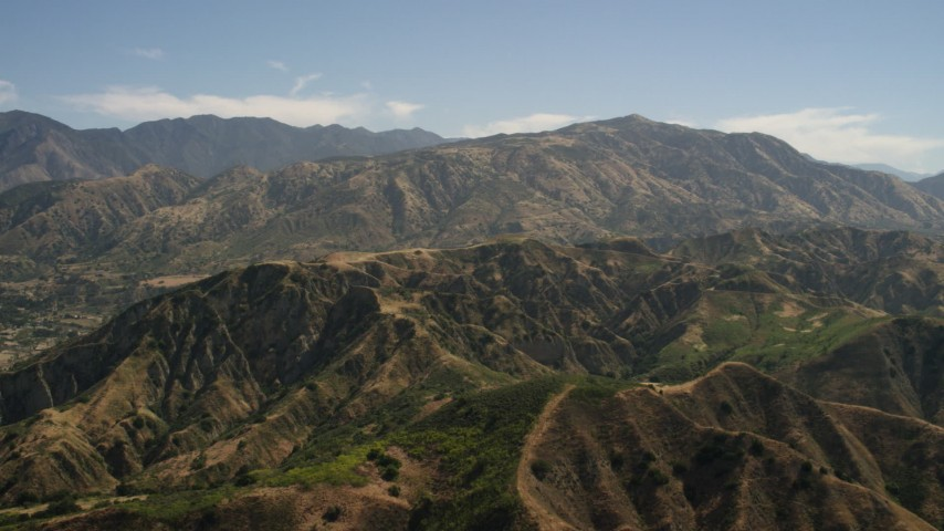 4K stock footage aerial video of approaching a mountain ridge and peak in the San Gabriel Mountains, California Aerial Stock Footage | FG0001_000154