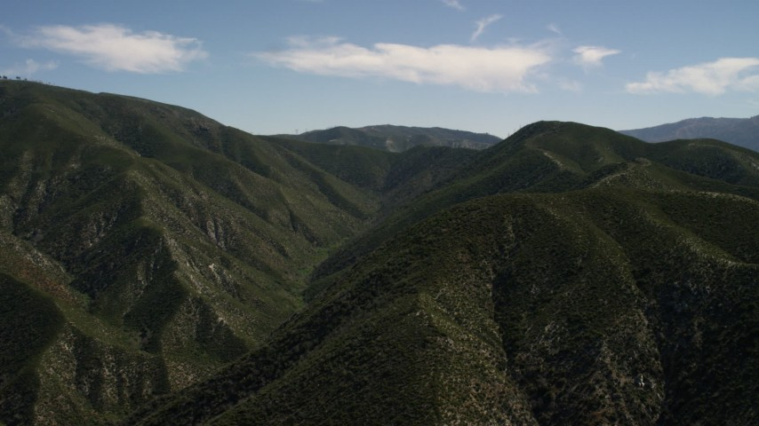 Approach a green mountain in the San Gabriel Mountains, California Aerial Stock Footage | FG0001_000162