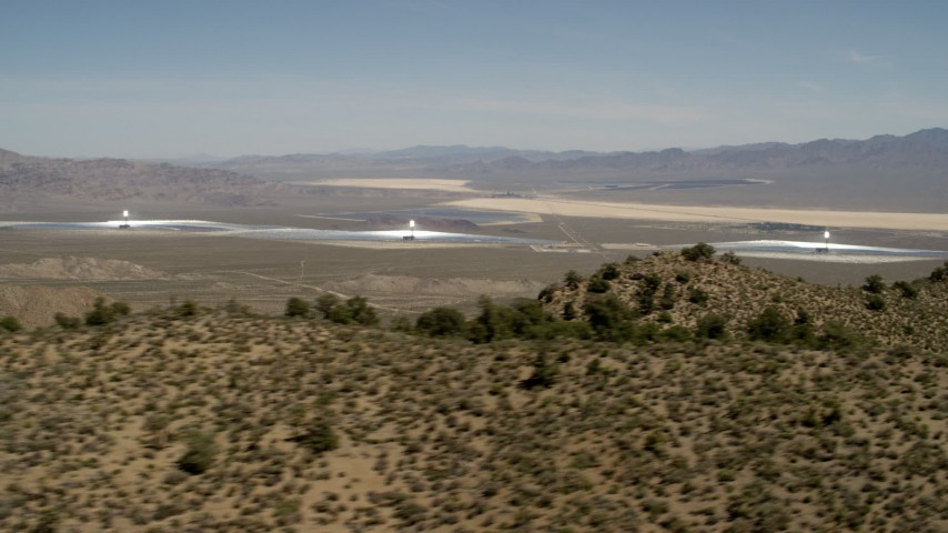 4K stock footage aerial video of towers and arrays of the Ivanpah Solar Electric Generating System, California Aerial Stock Footage | FG0001_000164