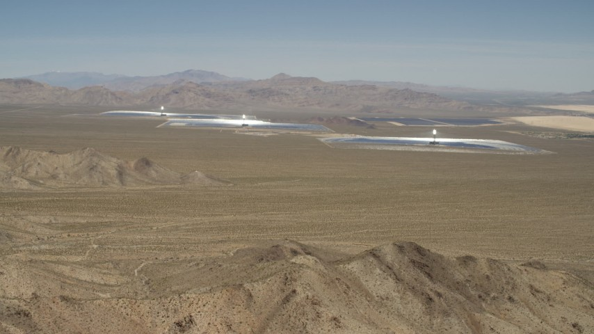 Approaching the Ivanpah Solar Electric Generating System in California Aerial Stock Footage | FG0001_000172
