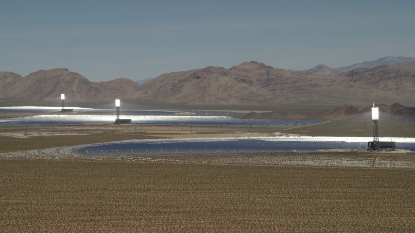 The arrays at the Ivanpah Solar Electric Generating System in California Aerial Stock Footage | FG0001_000176