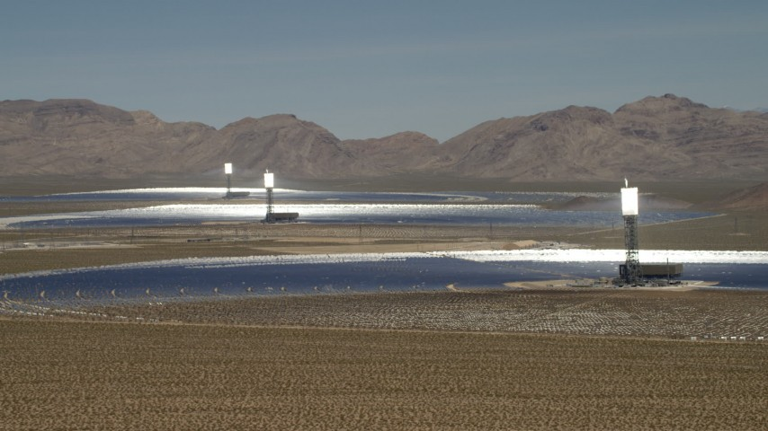 4K stock footage aerial video of a view of the three arrays at the Ivanpah Solar Electric Generating System in California Aerial Stock Footage | FG0001_000177
