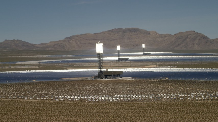 Flyby the Ivanpah Solar Electric Generating System in California Aerial Stock Footage | FG0001_000181
