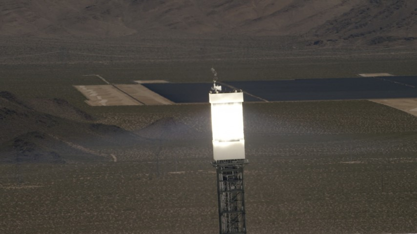 4K stock footage aerial video top of a power tower at the Ivanpah Solar Electric Generating System in California Aerial Stock Footage | FG0001_000183